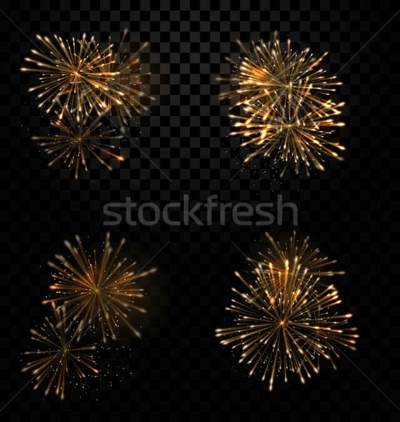 Festive Set Fireworks Salute on Transparent Background Stock photo © smeagorl