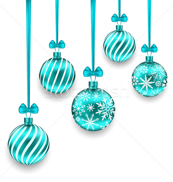 Christmas Background with Turquoise Glassy Balls Stock photo © smeagorl