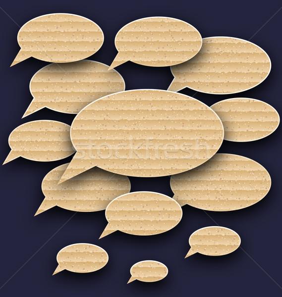 Stock photo: Set speech bubbles made in carton texture
