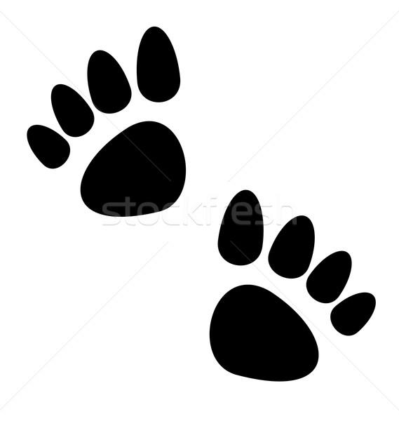 Black animal paws print isolated on white background Stock photo © smeagorl