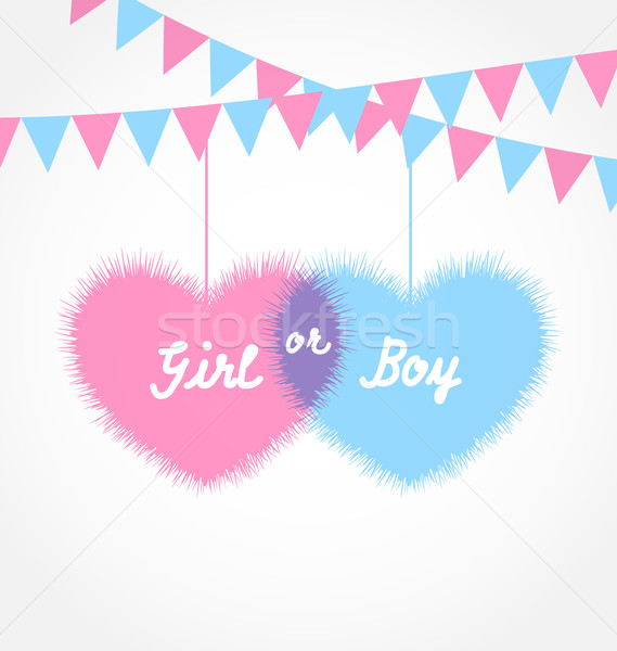Pink and blue baby shower in form hearts with hanging pennants Stock photo © smeagorl