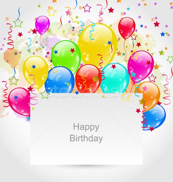 Születésnap meghívó tarka léggömbök konfetti illusztráció Stock fotó © smeagorl