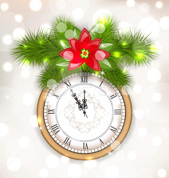 új év éjfél óra illusztráció fenyő virág Stock fotó © smeagorl