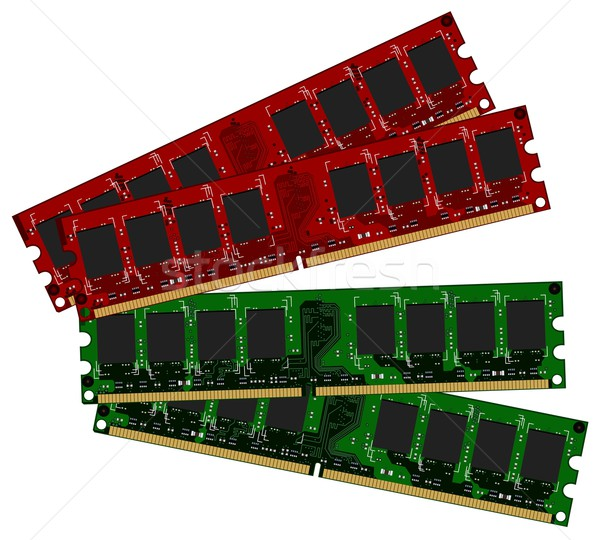 Stock photo: Two set DDRII modules red and green