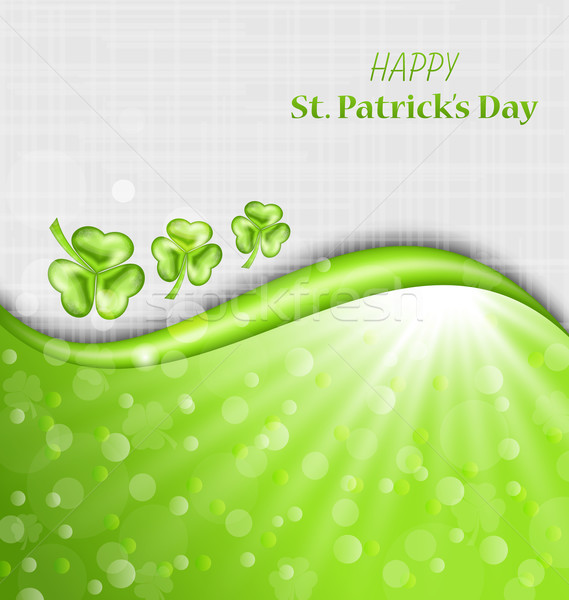Abstract Glowing Background with Green Trefoils for St. Patrick  Stock photo © smeagorl