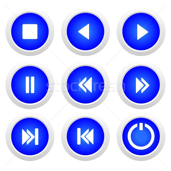 Music blue buttons set Stock photo © smeagorl