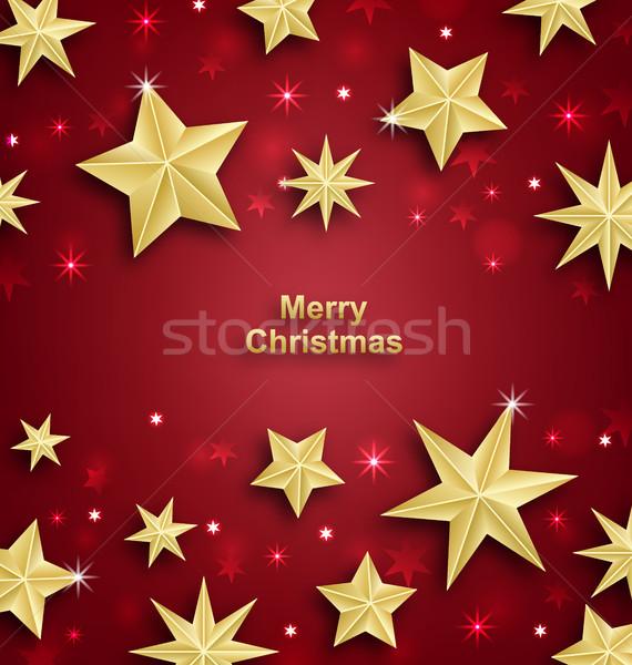 Csillagos vidám karácsony boldog új évet illusztráció boldog Stock fotó © smeagorl