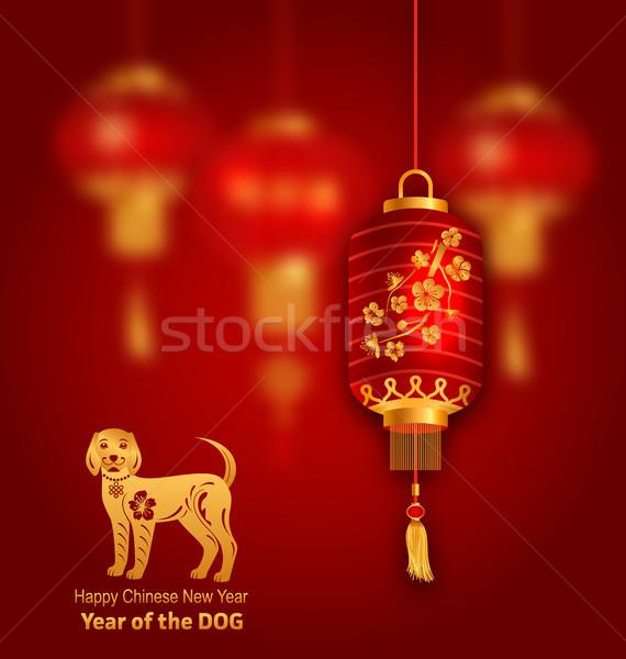 Föld kutya szimbólum év kínai piros Stock fotó © smeagorl