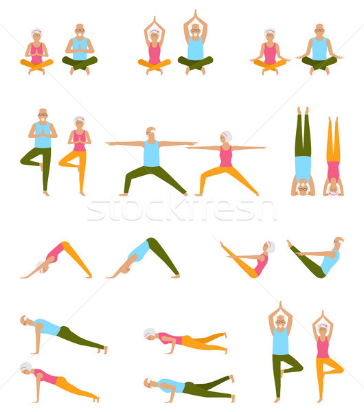 Elderly People Practice Yoga. Set of Asanas. Relax and Meditate. Healthy Pension Lifestyle Stock photo © smeagorl