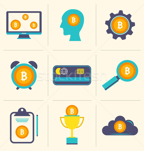 Stock photo: Bitcoin Digital Money, Cryptocurrency System and Mining Pool, Flat Design Icons