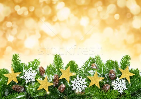Christmas złota jodła odznaczony gwiazdki Zdjęcia stock © Smileus