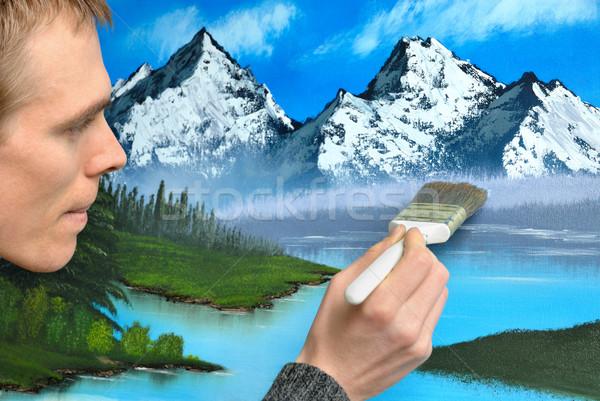 Sanatçı manzara boyama erkek çalışma konsantre Stok fotoğraf © Smileus