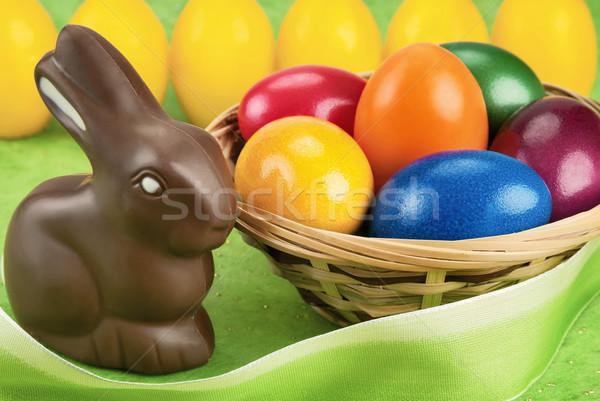 çikolata tavşan paskalya yumurtası easter bunny boyalı yumurta Stok fotoğraf © Smileus