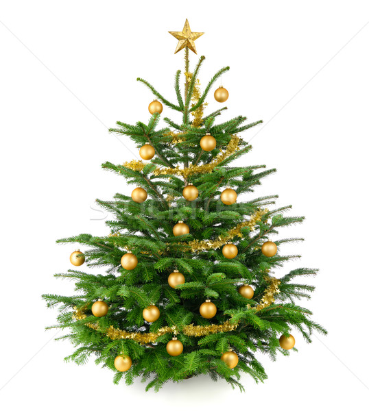 Beautiful Christmas tree with gold baubles Stock photo © Smileus