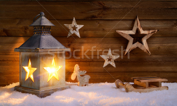 Christmas scene in warm lantern light Stock photo © Smileus