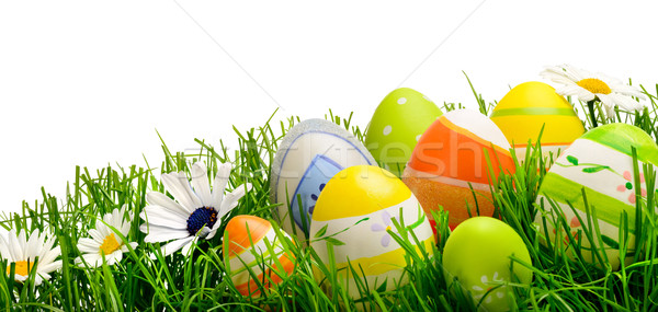 Easter eggs and flowers in grass, isolated Stock photo © Smileus