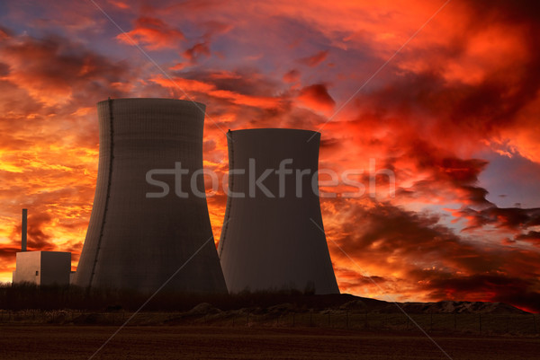 Nuclear power plant with an intense red sky Stock photo © Smileus
