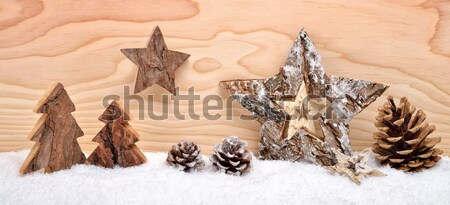 Christmas arrangement with wooden ornaments and lantern Stock photo © Smileus