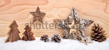 Christmas arrangement houten ornamenten lantaarn mooie Stockfoto © Smileus