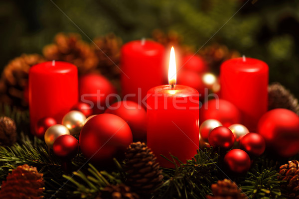 Advent wreath with one burning candle Stock photo © Smileus
