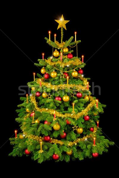 Gorgeous Christmas tree on black Stock photo © Smileus