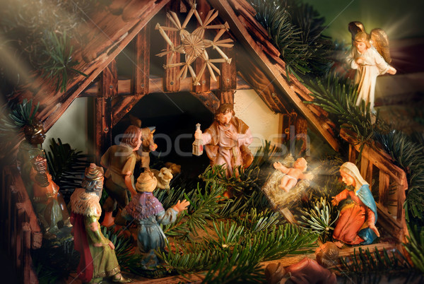 Nativity Scene enhanced with rays of light Stock photo © Smileus