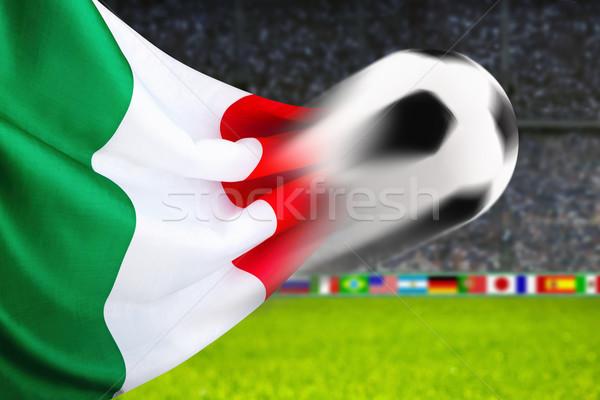 футбола Италия футбольным мячом быстро движения итальянский флаг Сток-фото © Smileus