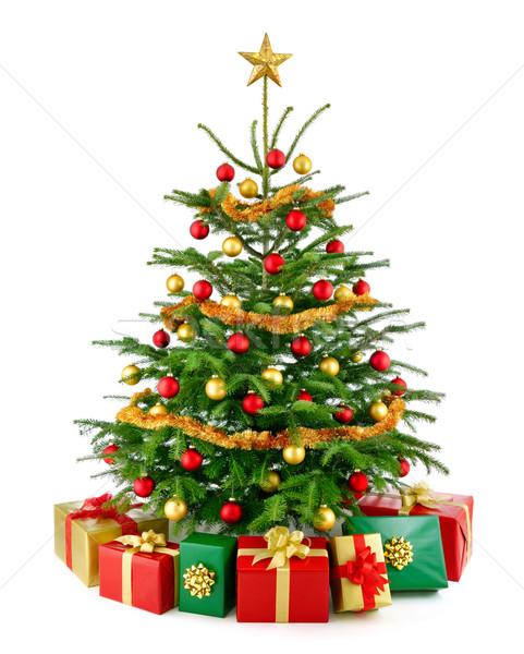 Noel ağacı hediye kutuları parlak bereketli Stok fotoğraf © Smileus