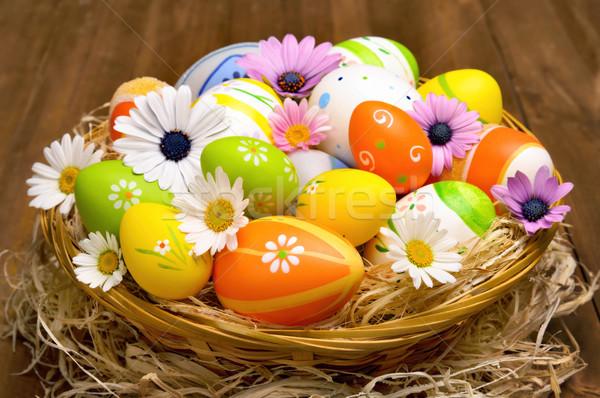 красочный пасхальных яиц корзины Христос воскрес окрашенный Сток-фото © Smileus