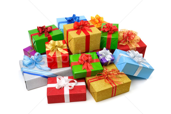 Happy pile of colorful gift boxes Stock photo © Smileus