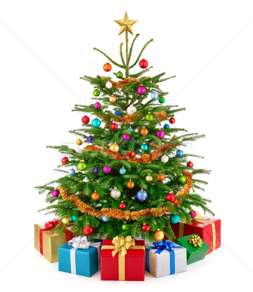 Fresh lush Christmas tree with colorful gift boxes Stock photo © Smileus