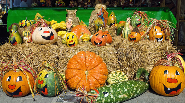 Cute arrangement of painted pumpkins Stock photo © Smileus