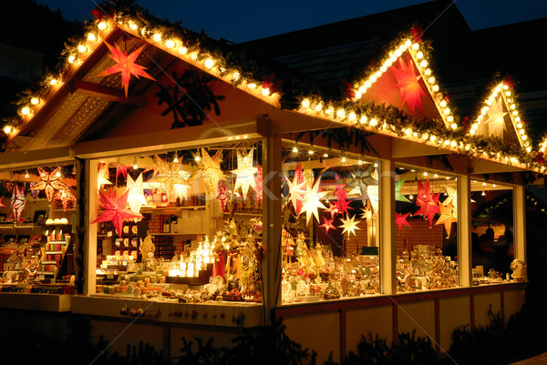 Illuminated Christmas fair kiosk Stock photo © Smileus