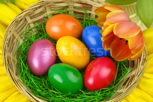 Nice Easter arrangement with eggs Stock photo © Smileus
