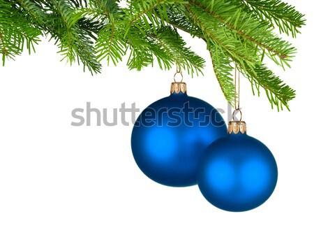 Mavi Noel asılı taze yeşil parlak Stok fotoğraf © Smileus