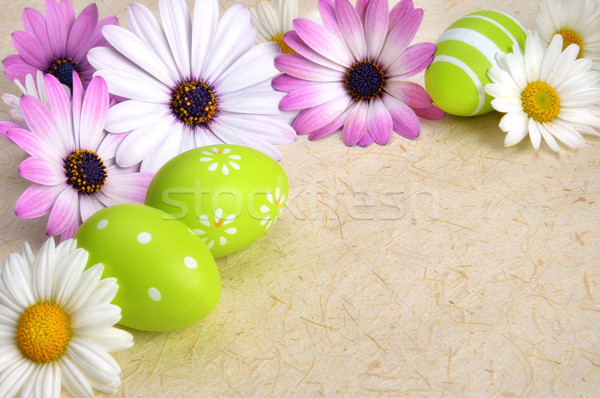 Flowers and Easter eggs on parchment Stock photo © Smileus