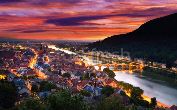 Heidelberg, Germany, with dramatic dusk sky Stock photo © Smileus