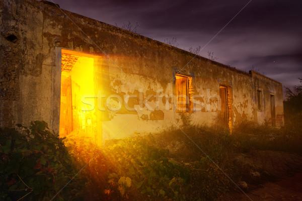 Gizemli ışık terkedilmiş ev renkli gece Stok fotoğraf © Smileus