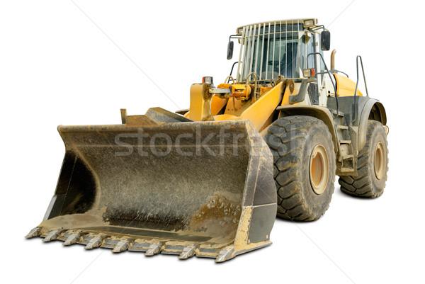 Escavadeira isolado branco poeirento grande Foto stock © Smileus