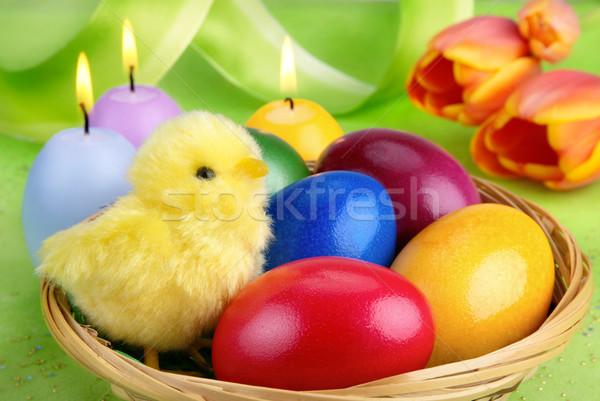 Kleurrijk Pasen arrangement chick veelkleurig paaseieren Stockfoto © Smileus