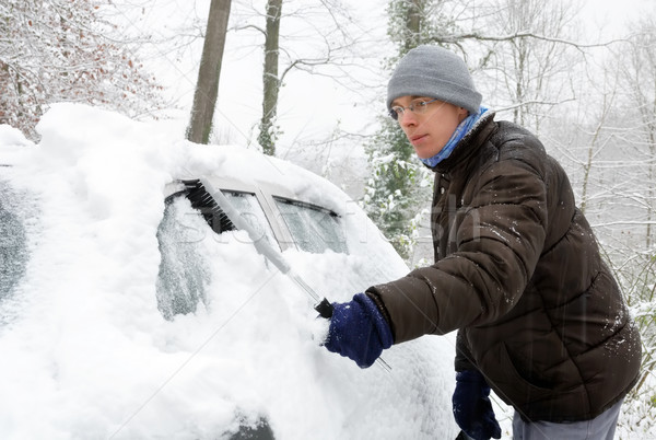 Man removes snow from his car Stock photo © Smileus