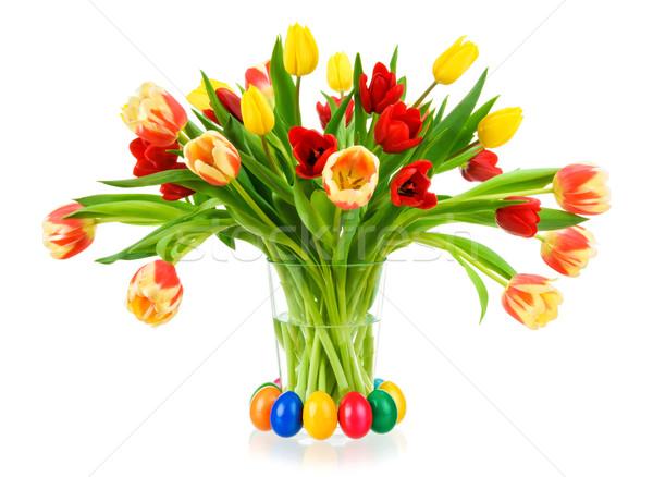 Stock foto: Herrlich · Bouquet · Tulpen · Vase · farbenreich · Glas