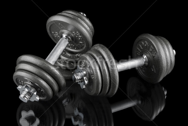 Two dumbbells on black Stock photo © Smileus