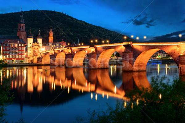 Stock photo: Heidelberg's Old Bridge at twilight