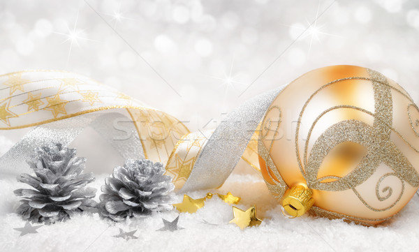 Christmas glorie goud zilver elegante arrangement Stockfoto © Smileus