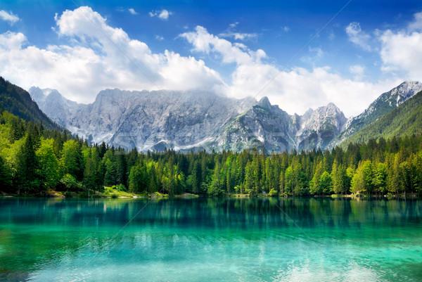 Beautiful lake with mountains in the background Stock photo © Smileus