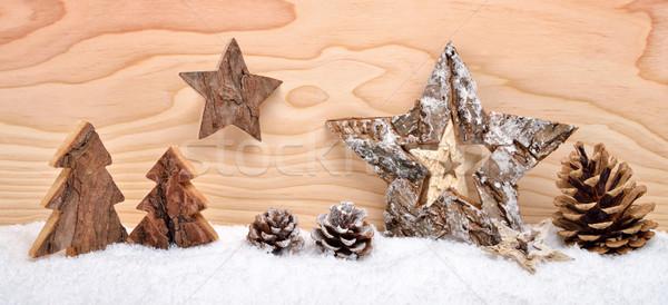 Christmas arrangement with wooden decoration Stock photo © Smileus