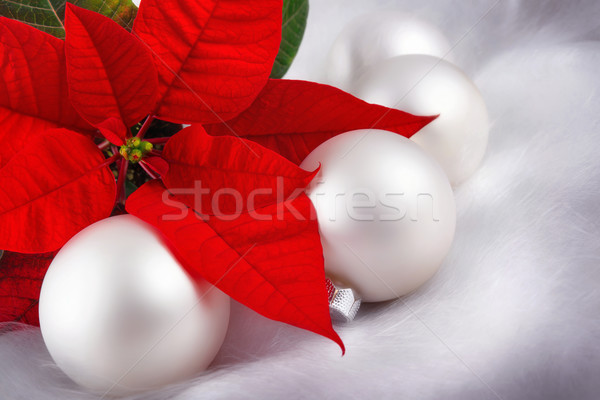 Czerwony srebrny christmas elegancki biały Zdjęcia stock © Smileus