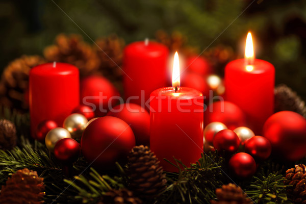 Advent wreath with 2 burning candles Stock photo © Smileus