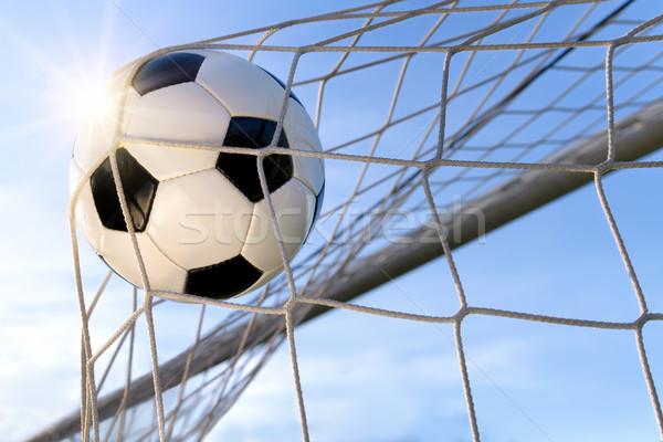 Football Goal, with sun and blue sky Stock photo © Smileus
